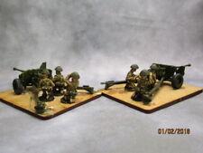 2 x 20mm Britannia Miniatures WW2 British 6pdr A/T Gun & 3 crew  painted