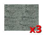 3x Grey Brick Wall Cardboard - Vollmer 46052 - OO/HO decor