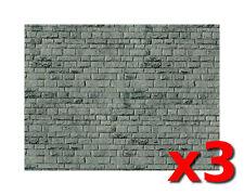 3 x grigio MURO DI MATTONI CARTONCINO - Vollmer 46052 - OO/HO SOPRAMMOBILE