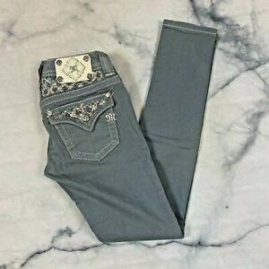 Miss Me Skinny Jeans Size 25 Slate Gray Button Flap Pockets JP611052 Low Rise