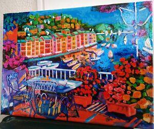 Quadro olio su Paesaggi tela Dipinto Portofino marina ( faccincani athos