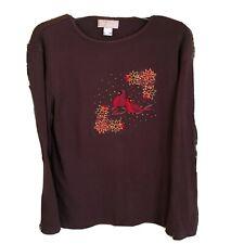 MccC Sportswear Harvest Brown Shirt 2X Cardinals Appliqued Birds LS tee
