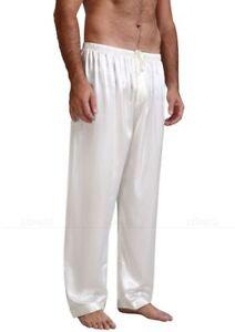 Mens Silk Satin Pajamas Pants Long Sleeping Bottom Pants Nightwear Loungewear PJ