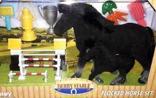 DERBY STABLE FLOCKED HORSE PONY Play Set Black Stallion WIN Boy Girl 3+ KIDS TOY