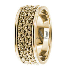 Handmade Braided Twisted Ropes 8mm Wide 10K Yellow Gold Men's Wedding Band Ring