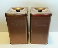 """Vintage Unsigned Gold Chrome Sugar & Flour Canisters Tin Can Made in USA 9"""" Tall"""