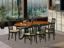 9pc oval dinette kitchen dining set table with 8 upholstered chairs cherry black