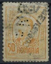 """Romania 1908-1919, 50b Perfin """"B.N.P."""" Used #D5972"""