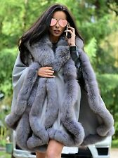NEW CASHMERE FOX FUR PONCHO CLASS- SABLE MINK CHINCHILLA COAT JACKET CAPE SILVER