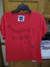 """New listing Disney New! Women's Large Red Minnie Mouse """"Dream in Dots"""" S/S Soft Tee"""