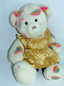 Build a Bear Summer of  Hugs White Bear with Rainbows all over with outfit