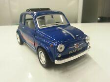 Fiat 500 blue kinsmart TOY model 1/24 scale diecast Car present gift open doors