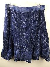 Coldwater Creek Women's Size L Large 14-16 Skirt A Line Blue Bohemian Batik