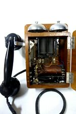 ART DECO WOODEN CASED WALL PHONE TELEPHONE