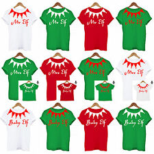 Personalised Family Elf Set Christmas, PJS Daddy Mummy Baby Matching Set T Shirt