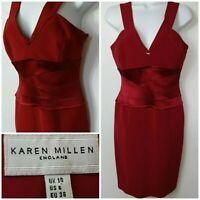 Karen Millen England Sleeveless V Neck Little Red Midi Fitted Dress UK 10 A371