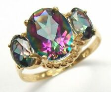 9K/375 YELLOW GOLD JEWELRY NATURAL BRAZIL MYSTIC TOPAZ & DIAMOND RING
