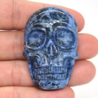 """1.9"""" Skull Cabochon Figurine Natural Blue Sodalite Crystal Healing Stone Carving"""