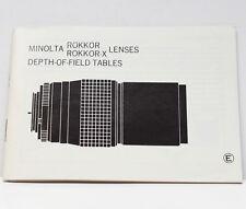 Minolta Rokkor Rokkor-X Lenses Depth Of Field Tables Guide Product Info
