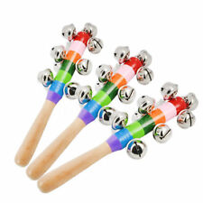 10-Bells Jingle Baby Kids Rainbow Wooden Handle Stick Shaker Rattle Xmas Toys UK