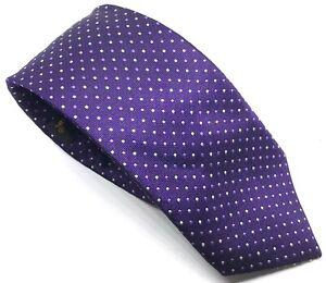 """Ben Sherman Men's Tie Purple White Dotted 100% Silk 3"""" Width 61"""" Length"""