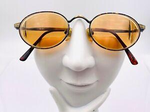 Vintage Elan Gold Amber Metal Oval Sunglasses Korea FRAMES ONLY