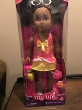 "My Life as Beach Vacationer African American 18"" Doll Girl Brown Curly Hair NIB"