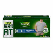 Depend FIT-FLEX Underwear for Men Size: Large - 84Ct - Free Shipping! No Tax!