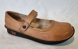 Alegria BEL By PG Lite Ladies Shoes Eur 37 US 6.5 Brown Leather Mary Jane Flats