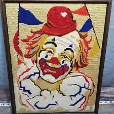Vintage 19x15 Scary Creepy Clown Photo Picture Woven It