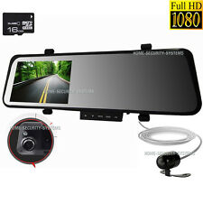 Dash Camera In Car 16GB RearView Mirror Cam 1080P Reversing Security System