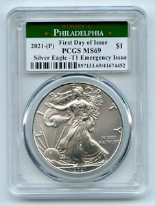 2021 (P) $1 Emergency American Silver Eagle Dollar PCGS MS69 First Day Issue