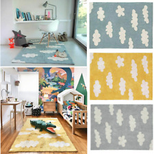 Lorena Canals Machine Washable Rug Clouds Grey/Vintage Blue/Mustard Natural Dyes
