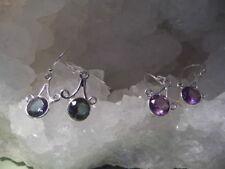 Orecchini di lusso con gemme pendenti in argento sterling con ametista