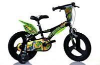"Dino Dinosaur 14"" Kids Single Speed Bike Boys Bicycle Black Stabilisers 614L-DS"