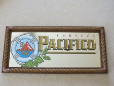 """Cerveza Pacifico Nautical Beer Bar Mirror Sign With Real Rope 33.5"""" X 15.5"""" Rare"""