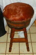 Ranch Oak Whiskey Barrel Swivel Bar Stool with Cow Hair Hide Covers  (SC278)