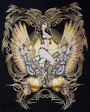 T-Shirt #725 PINUP WINGS ENGINE, BIKER Hot Rod Dragster PinUp V8 Skull Custom