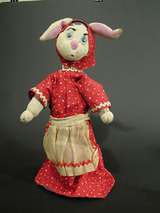 Vintage Mamma Rabbit Hand Puppet, Home-Made, Folk Art Button Eyes Scrap Material