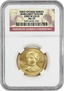 2009-W Margaret Taylor $10 NGC MS70 - First Spouse .999 Gold