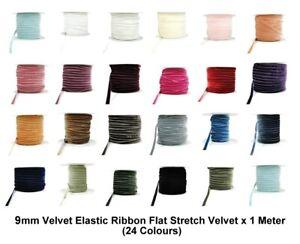 9mm Velvet Elastic Ribbon Flat Stretch Velvet Elasticated x 1 Meter (23 Colours)