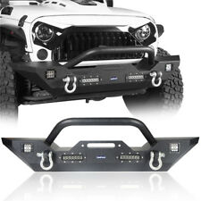 For Jeep Wrangler JK 2007-2018 Texture Black Front Bumper w/LED Lights & D-ring