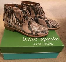 KATE SPADE New York BETSIE TOO FRINGED SNAKE-EMBOSSED LEATHER ANKLE BOOTS 6,5M