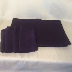 4 Sets of Purple Plum Ribbed Matching Placemats & Napkins