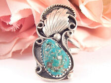 Womens Ring Turquoise Solitaire Sterling Silver VTG 1960s Navajo Zuni Jewelry