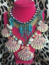 Betsey Johnson Shell Shocked HUGE Scallop Crystal Mermaid Necklace VERY RARE