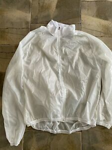 Cycling packable wind jacket white clear 4XL