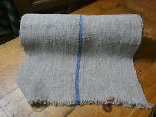 A Homespun Linen Hemp/Flax Yardage 11 Yards x 20'' Blue Stripes  # 9772