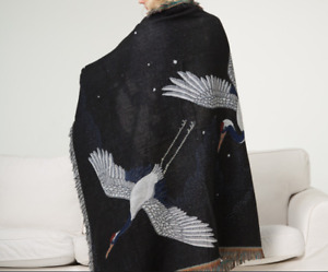 Hot Black Crane Japanese Style Tapestry Blanket Retro Animal Pattern Blanket