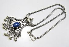 Beautiful Blue Bead Pendant With Flexible Chain , Silver oxidized Long Necklace.